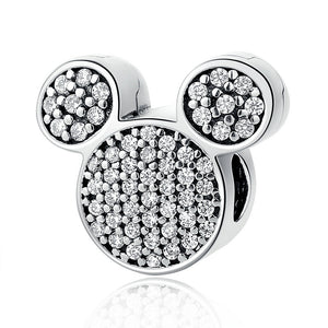 925 Sterling Silver CZ Mickey Mouse Ears Pandora Compatible Bead Charm