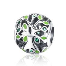 925 Sterling Silver Tree of Life Green Enamel Pandora Compatible Bead Charm