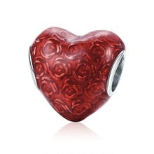 925 Sterling Silver Red Enamel Rose Patterned Heart Pandora Compatible Bead Charm