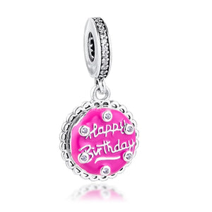 925 Sterling Silver Happy Birthday Pink Enamel Pandora Compatible Dangle Charm