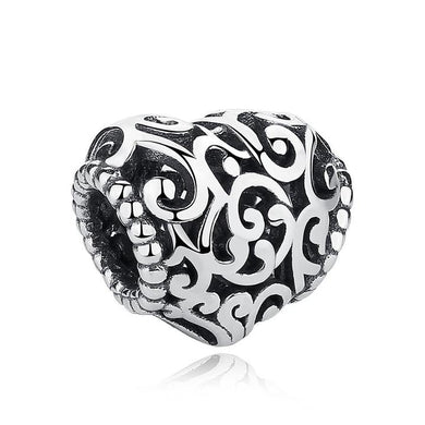 925 Sterling Silver Openwork Heart Charm