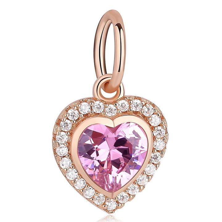925 Sterling Silver ROSE GOLD PLATED CZ Heart Dangle Charm
