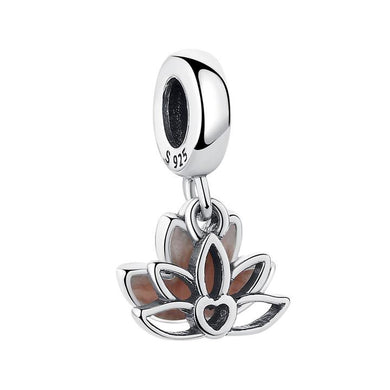925 Sterling Silver Pink Enamel Lotus Pandora Compatible Dangle Charm