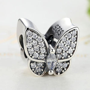 925 Sterling Silver Clear CZ Butterfly Pandora Compatible Bead Charm