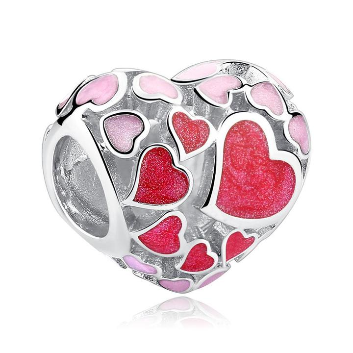 925 Sterling Silver Pink and Red Enamel Heart Pandora Compatible Bead Charm