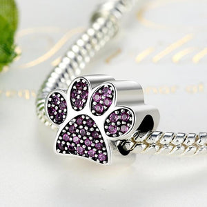 925 Sterling Silver Pink CZ Paw Print Pandora Compatible Bead Charm
