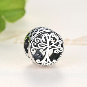 925 Sterling Silver Openwork Tree of Life Pandora Compatible Bead Charm
