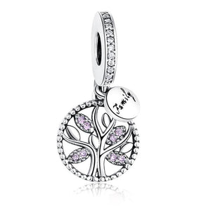 925 Sterling Silver Family Tree Pink CZ Pandora Compatible Charm