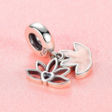 Load image into Gallery viewer, 925 Sterling Silver Pink Enamel Lotus Pandora Compatible Dangle Charm