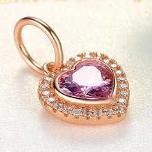Load image into Gallery viewer, 925 Sterling Silver ROSE GOLD PLATED CZ Heart Dangle Charm