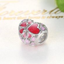 Load image into Gallery viewer, 925 Sterling Silver Pink and Red Enamel Heart Pandora Compatible Bead Charm