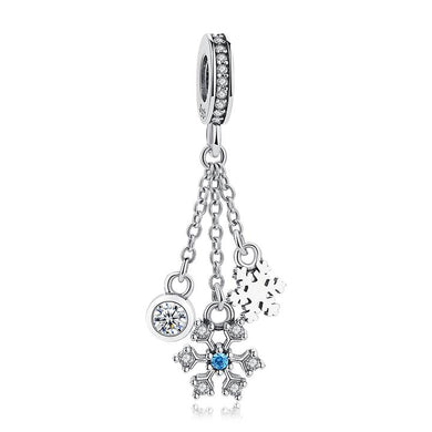 925 Sterling Silver Blue and Clear CZ Snowflake Pandora Compatible Dangle Charm