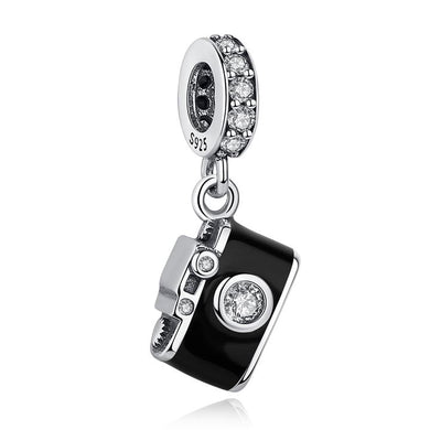 925 Sterling Silver CZ Camera Pandora Compatible Charm