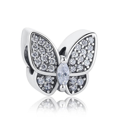 925 Sterling Silver Clear CZ Butterfly Pandora Compatible Charm