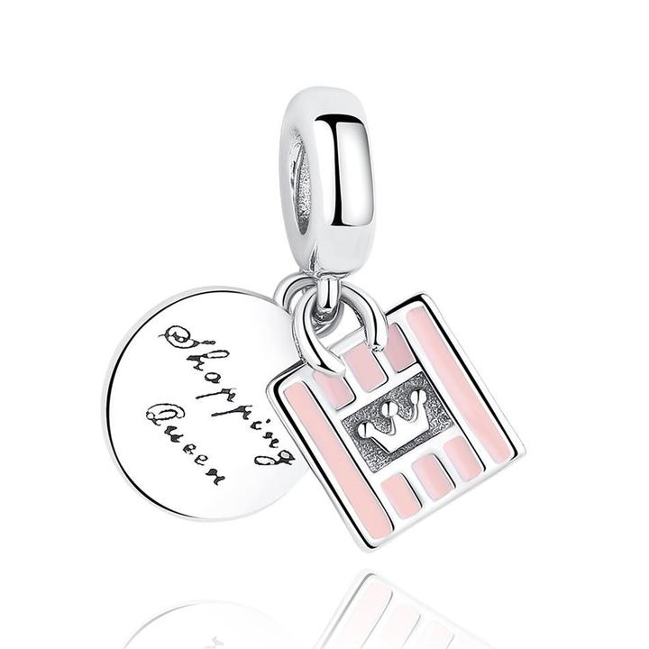 925 STERLING SILVER Shopping Queen Charm