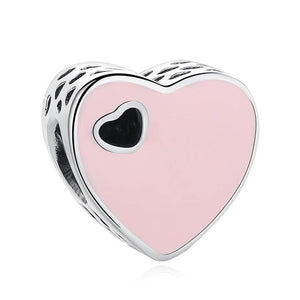 925 Sterling Silver Pink Enamel Heart Pandora Compatible Bead Charm