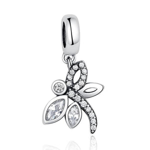 925 Sterling Silver Dragonfly Pandora Compatible Dangle Charm