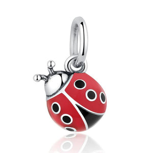 .925 Sterling Silver Red Enamel Lady bug Dangle Charm