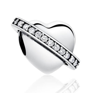 925 Sterling Silver Galaxy Heart Pandora Compatible Bead Charm