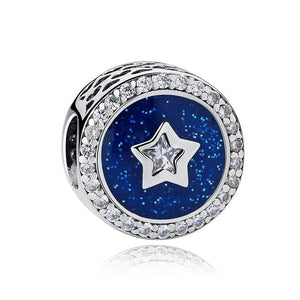 925 Sterling Silver Mid-Night Blue Sky Star Pandora Compatible Bead Charm