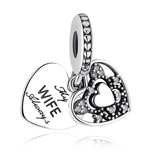 925 Sterling Silver Always My Wife Hearts Pandora Compatible Dangle Charm
