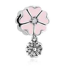 Load image into Gallery viewer, 925 Sterling Silver CZ Pink Enamel Magnolia Flower Pandora Compatible Bead Charm