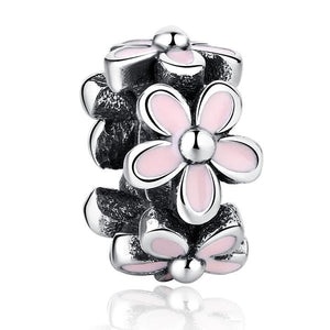 925 Sterling Silver Pink Enamel Daisy Pandora Compatible Spacer