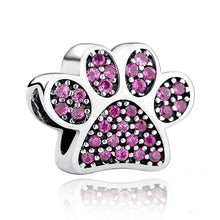 Load image into Gallery viewer, 925 Sterling Silver Pink CZ Paw Print Pandora Compatible Bead Charm