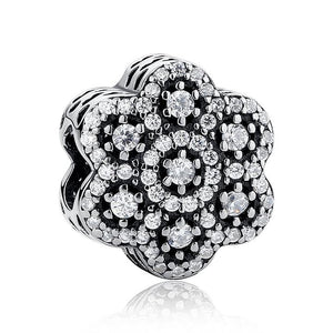 925 Sterling Silver CZ Ice Flower Pandora Compatible Bead Charm
