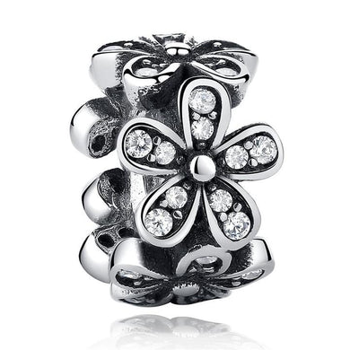925 Sterling Silver CZ Daisy Pandora Compatible Spacer