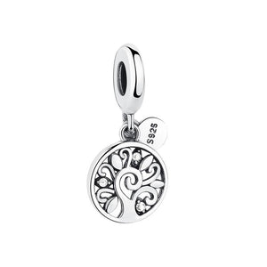 925 Sterling Silver Clear CZ Tree of Life Pandora Compatible Dangle Charm