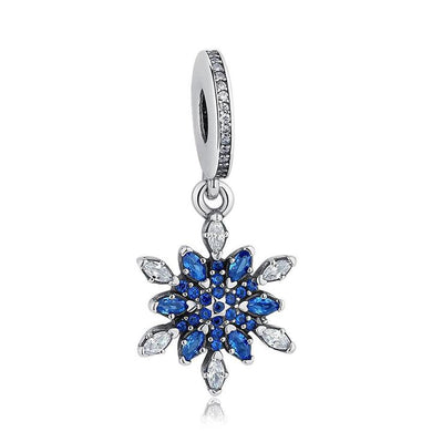 925 Sterling Silver Blue CZ Snowflake Pandora Compatible Dangle Charm