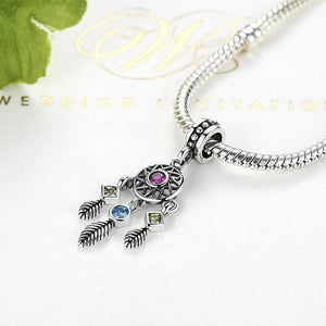 925 Sterling Silver DREAM CATCHER CZ charm