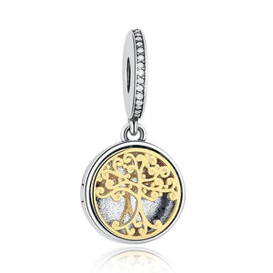 925 Sterling Silver Gold Plated Family Tree LOCKET Pandora Compatible Dangle Charm