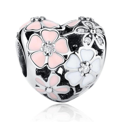 925 Sterling Silver Pink and White Enamel Bloom Heart Pandora Compatible Bead Charm