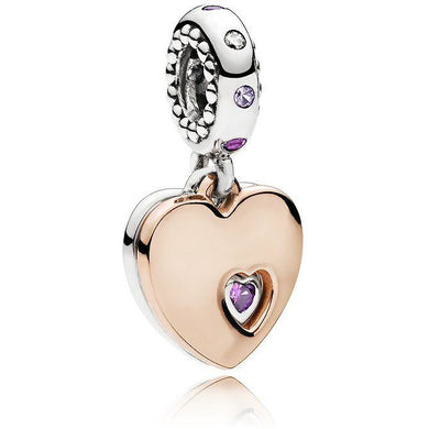 925 Sterling Silver Rose Gold Plated Hearts Pandora Compatible Dangle Charm