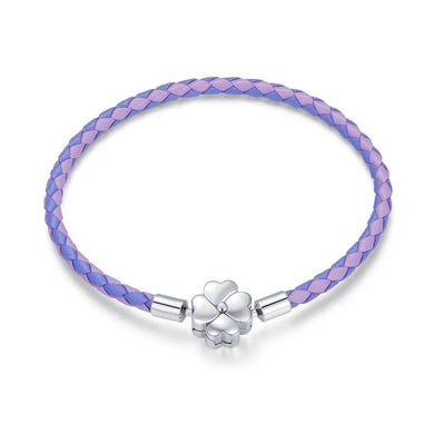 925 Sterling Silver Clover Clasp Purple Single Leather Charm Bracelet