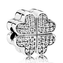 Load image into Gallery viewer, 925 Sterling Silver CZ Four Leaf Heart Clover Pandora Compatible CLIP