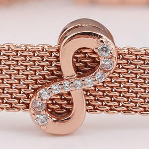 Rose Gold Plated CZ Infinity Reflexion Pandora Compatible Charm