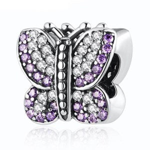 925 Sterling Silver Purple and Clear CZ Butterfly Pandora Compatible Charm