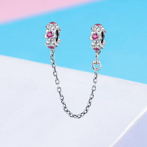 925 Sterling Silver Pink CZ Fairy Flower Garland Pandora Compatible SILICONE Safety Chain