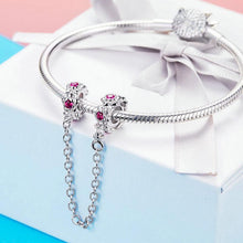 Load image into Gallery viewer, 925 Sterling Silver Pink CZ Fairy Flower Garland Pandora Compatible SILICONE Safety Chain