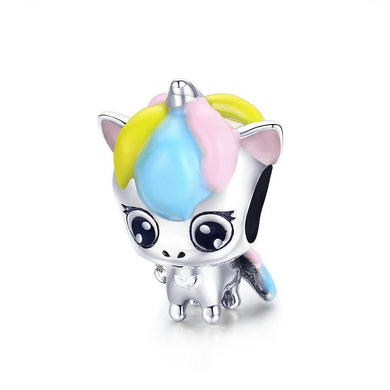 925 Sterling Silver Baby Unicorn Colourful Enamel Pandora Compatible Charm