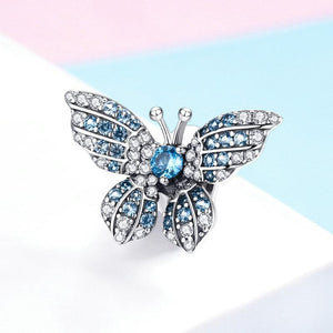 925 Sterling Silver Blue and Clear CZ Butterfly Pandora Compatible Bead Charm