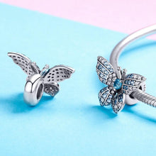 Load image into Gallery viewer, 925 Sterling Silver Blue and Clear CZ Butterfly Pandora Compatible Bead Charm