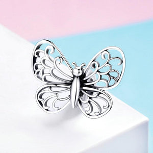 925 Sterling Silver Openwork Butterfly Pandora Compatible Bead Charm