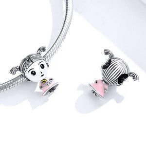 925 Sterling Silver Pink Enamel Little Ponytail Girl Pandora Compatible Bead Charm