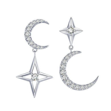 925 Sterling Silver CZ Moon & Star Drop Earrings