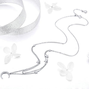 925 Sterling Silver Adjustable Moon and Star CZ Necklace