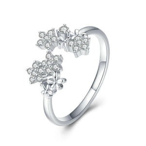 925 Sterling Silver CZ Daisy Adjustable Ring